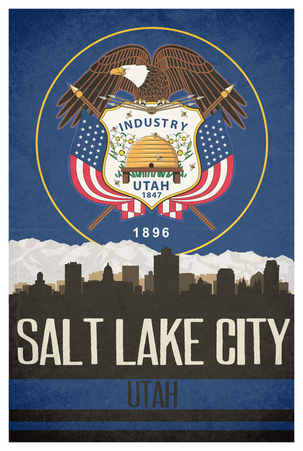Salt Lake City State Flag Skylines Matte Poster 24 Quot X36
