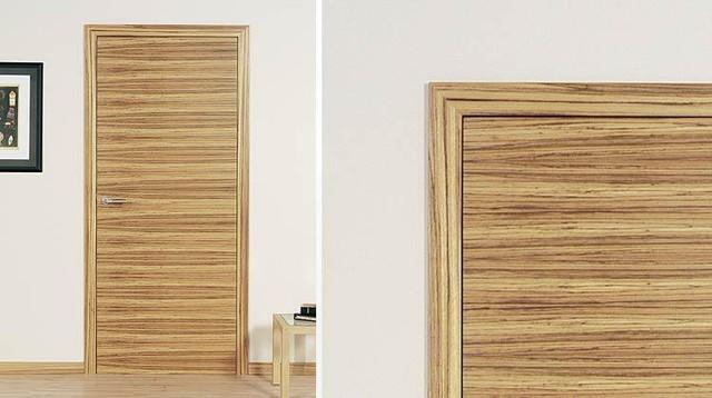 Zebrano flush with concealed adjustable hinges - C25 modern-interior-doors