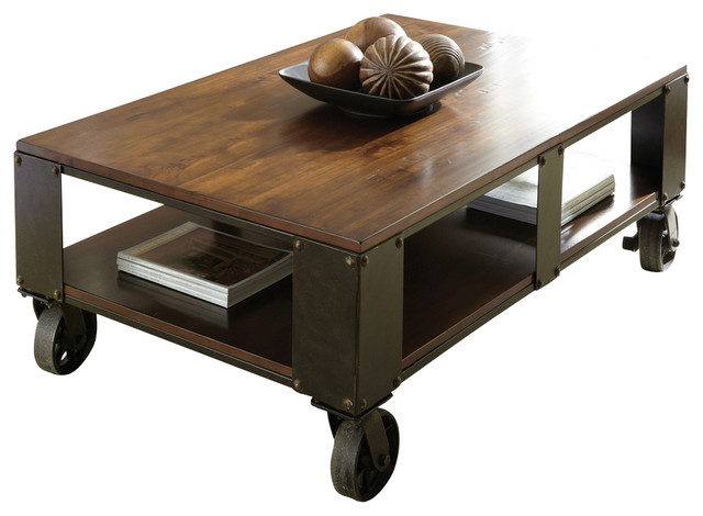 Steve silver barrett cocktail table with casters in distressed tobacco industrial coffee Steve silver coffee tables