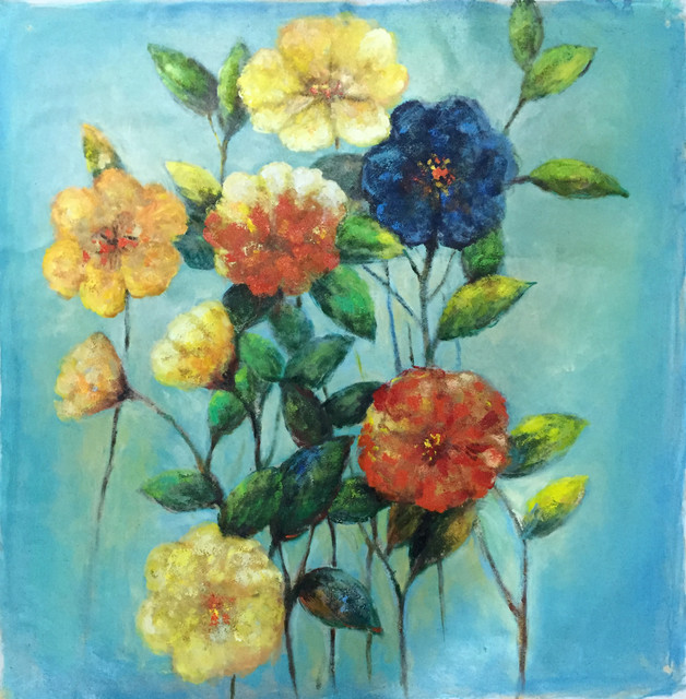 """variety Of Flowers"" Hand Painted Oil Canvas Artwork; Modern Art; Fine Art."