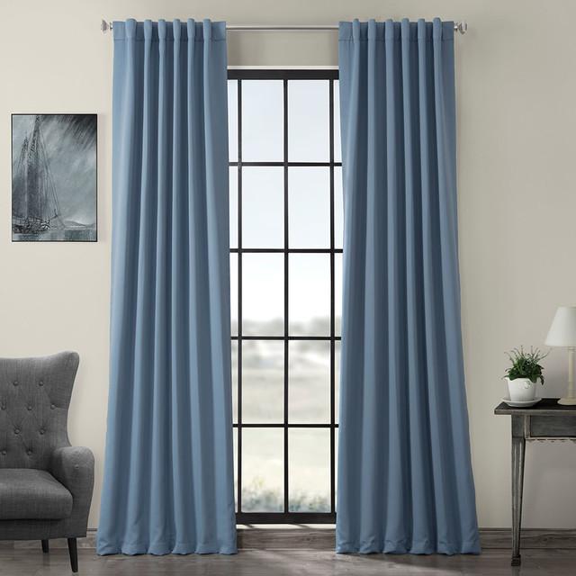 "Poseidon Blue Blackout Curtain, Set of 2, 50""x96"""