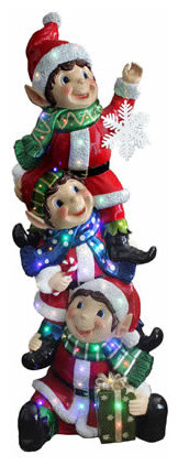 59 stacking elves christmas decor multi led indoor outdoor