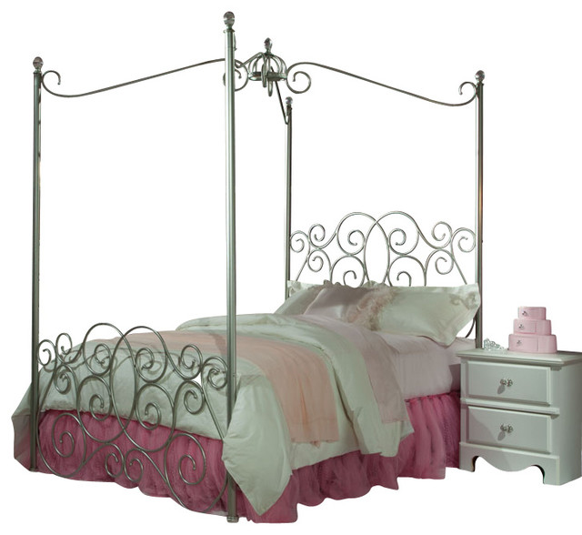 Standard Furniture Princess 5 Piece Kidsu0027 Canopy Bedroom Set, Silver, ...