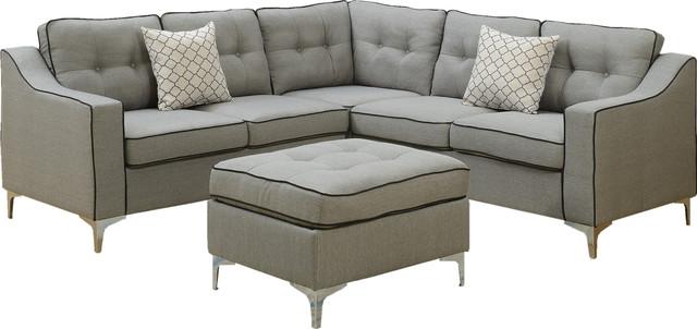 4-Piece Modular Sectional Sofa Ottoman Set, 2 Accent Pillows, Light Gray.