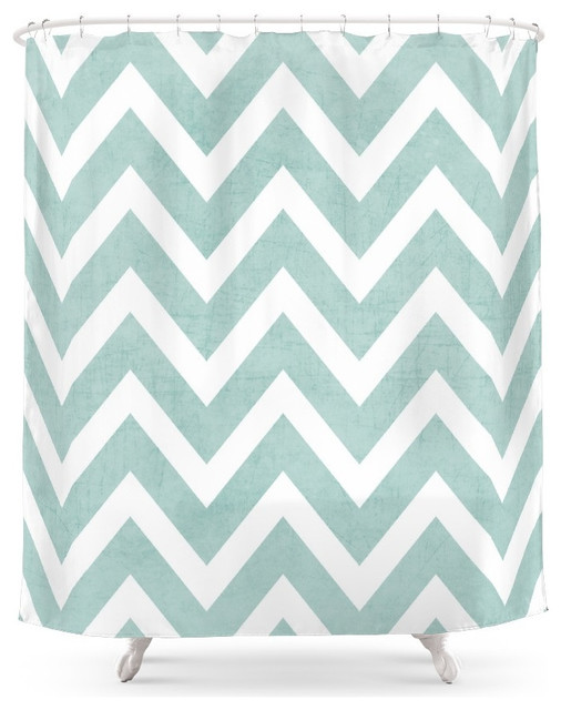 Chevron Shower Curtains society6 robins egg blue chevron shower curtain - contemporary