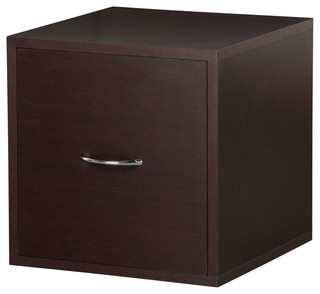 Solid Wood Frame Modular File Cabinet Storage Cube, Espresso - Contemporary - Filing Cabinets ...