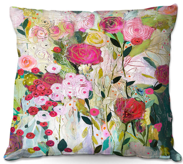 Wild Rose Outdoor Pillow   Contemporary   Outdoor Cushions And Pillows   By  DiaNoche Designs
