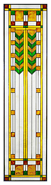 Arts and Crafts Prairie Double Chevron Art Glass Panel, Green
