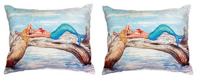 Pair of Betsy Drake Mermaid on Log No Cord Pillows 16 Inch X 20 Inch
