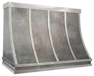 Custom Zinc Range Hood, RH-1 Shape - Industrial - Range Hoods And Vents - by Custom Metal Home