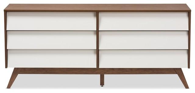 Walnut Wood 6 Drawer Storage Dresser