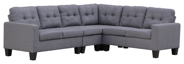 4-Piece Sectional, Gray.