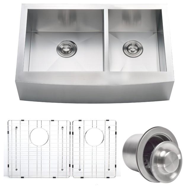 zach contemporary stainless steel farmhouse double kitchen sink 33 rh houzz com houzz corner kitchen sink houzz corner kitchen sink
