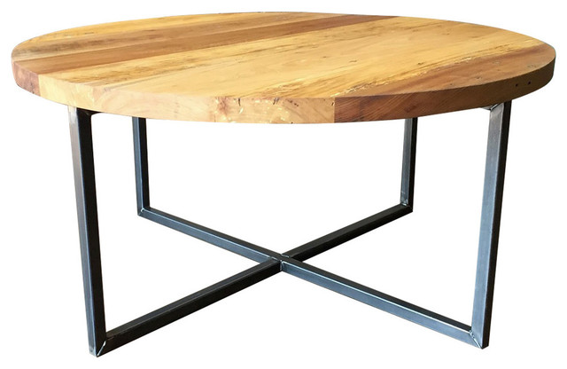 Round Modern Reclaimed Wood Coffee Table 28