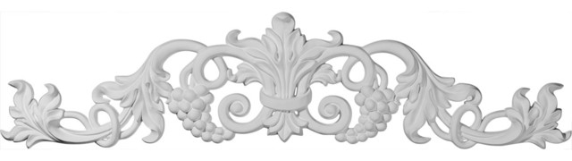 """Large Grape And Leaf Center With Scrolls Onlay, 39""""w X 8 7/8""""h X 1 3/8""""p."""