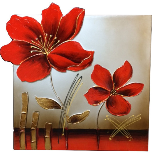 Canvas Oil Painting 3D Effect Enamel Flower Paintings