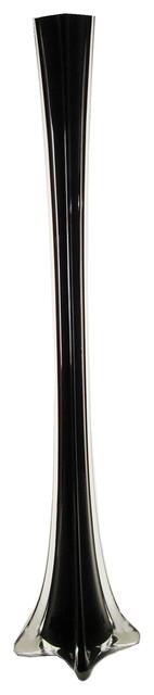 """Eiffel Tower Wedding Centerpiece Glass Vase, Black, 24"""", Set of 6"""
