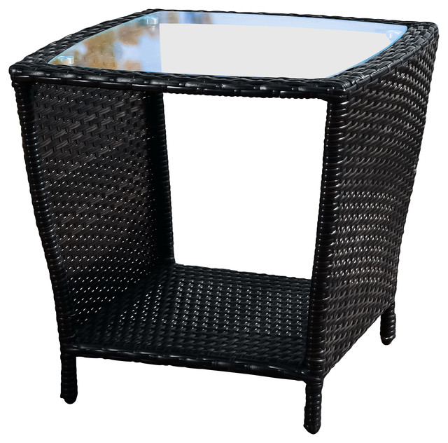 Perfect Easton Outdoor Wicker Accent Table, Black Contemporary Outdoor Side Tables