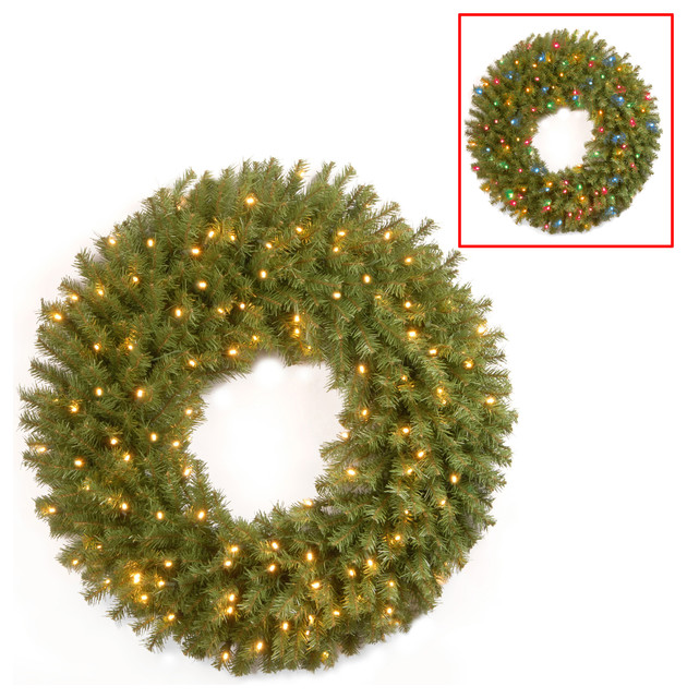 """36"""" Norwood Fir Wreath With 100 Battery Operated Dual Color Led Lights."""