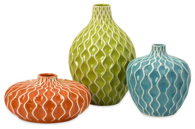 Agace 3 Piece Ceramic Vase Set Contemporary Vases By Imax