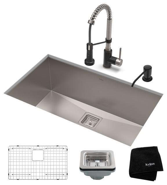 "28 1/2"" Undermount Stainless Steel Kitchen Sink, Pull-Down Faucet SSMB Dispenser"