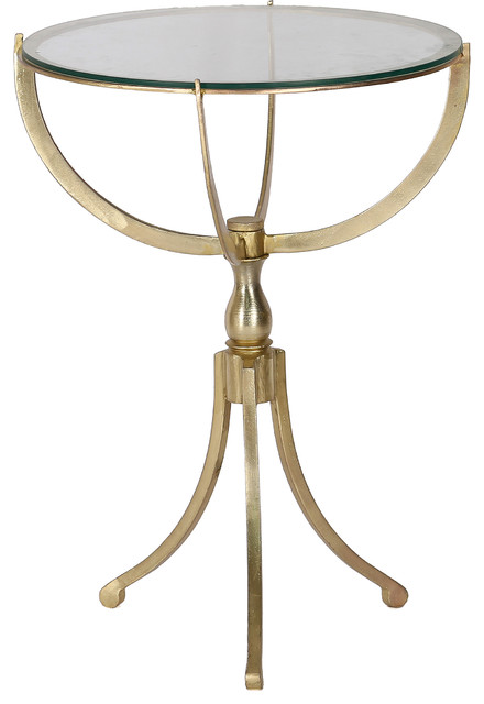 Gendey Iron And Glass Antique Brass Accent Table.