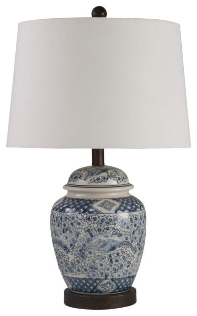 "Ceramic 24"" Ginger Jar Table Lamp, Blue and White"