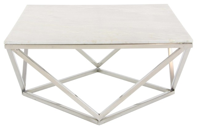 """Gwg Outlet Stainless Steel Marble Square Coffee Table, 29""""x18""""."""