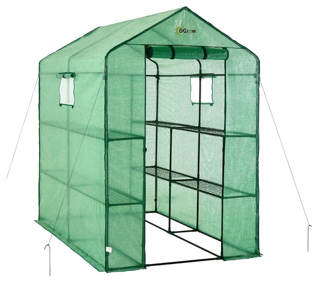Ogrow Large Heavy Duty Walk-In 2-Tier 8-Shelf Portable Lawn, Garden Greenhouse.