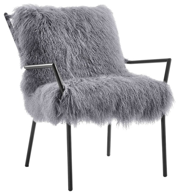 Lena Sheepskin Chair, Gray Contemporary Armchairs And Accent Chairs