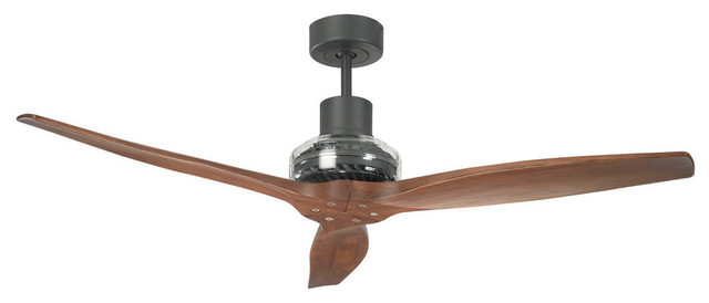 Star Propeller Graphite Ceiling Fan, Rustic Walnut.