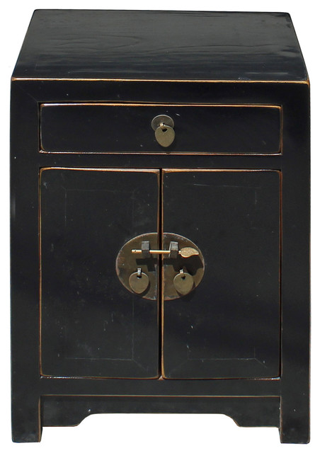 Oriental Distressed Semi Gloss Black Lacquer Side End Table Nightstand Hcs4174 Asian Nightstands And Bedside Tables By Golden Lotus Antiques