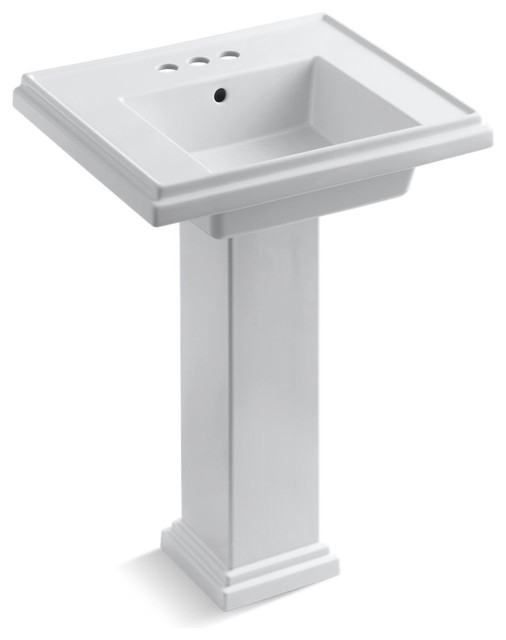 Tresham 24 Pedestal Lavatory With 4 Centerset Faucet Drilling, White.