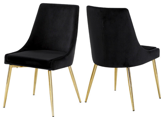 Karina Velvet Dining Chairs, Set of 2, Black, Gold Base