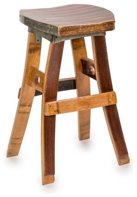 Wine Barrel Swivel Barstool No Back Farmhouse Bar