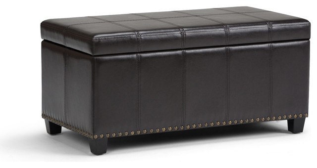 Pleasant Amelia Storage Ottoman Bench Tanners Brown Pu Faux Leather Pabps2019 Chair Design Images Pabps2019Com
