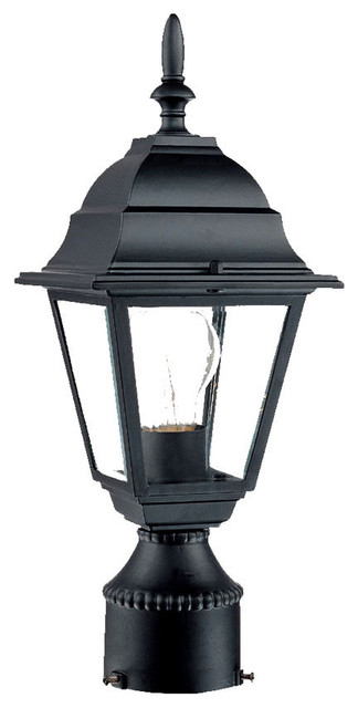 Builder&x27;s Choice 1-Light Post-Mount Outdoor Fixture, Matte Black.