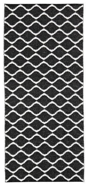 Wave Woven Vinyl Floor Cloth, Black, 70x300 cm