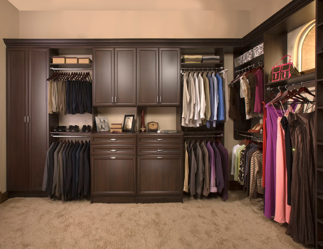 Custom Walk In Closet Organizers Chocolate Pear Contemporary