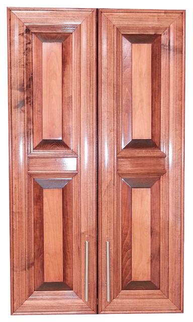 "Edison 47"" 2-Door Recessed Frameless Medicine Cabinet, 2.5""d, Dark Cherry."