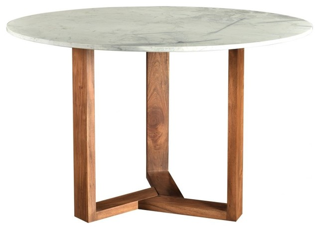 48 W Round Dining Table Satwaria Marble Top Solid Acacia Wood Ergonomic Base