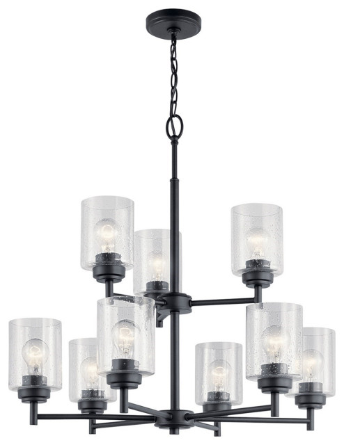 Kichler Winslow 9 Lt 2 Tier Chandelier 44031bk Black Transitional Chandeliers By Better Living Store Houzz