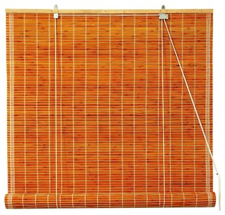 Oriental Furniture Burnt Bamboo Roll Up Blinds in Light Brown, 24 in ...