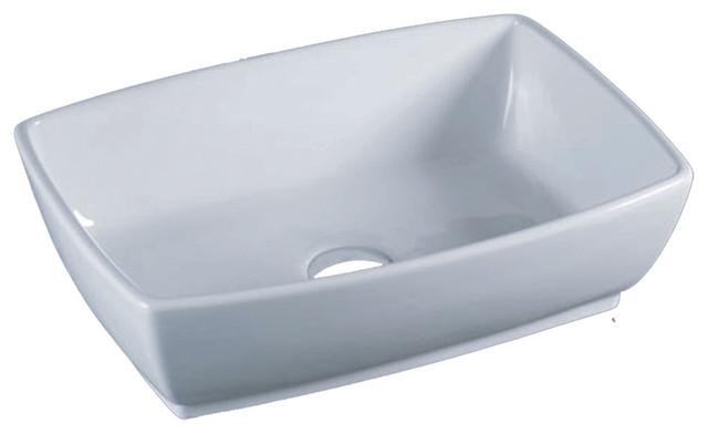 Rectangular Porcelain Vessel Sink, Bisque