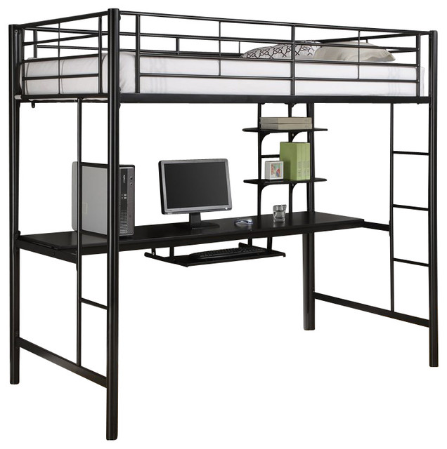 Walker Edison Sunset Metal Twin/Workstation Bunk Bed, Black X LBZOTB  Contemporary