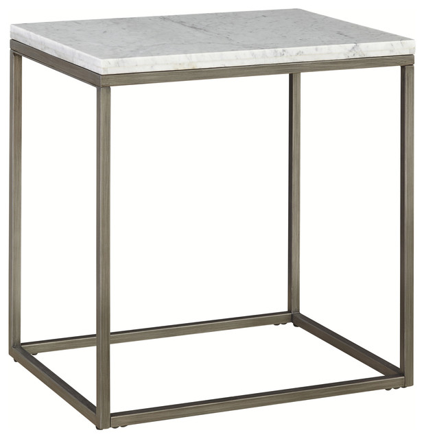 Palliser Furniture, Julien End Table With White Marble Top, Rectangle