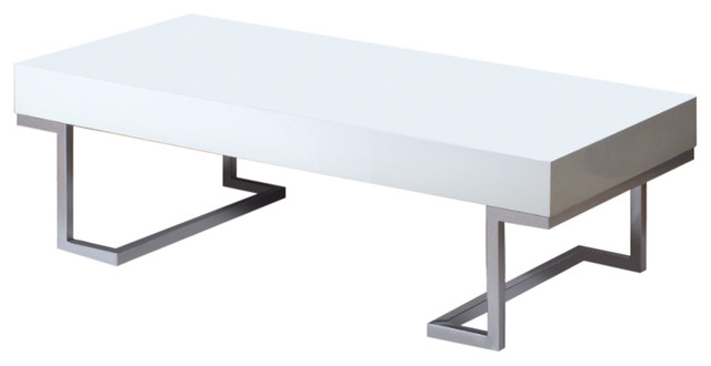 Contemporary Style Sophisticated Coffee Table, White.