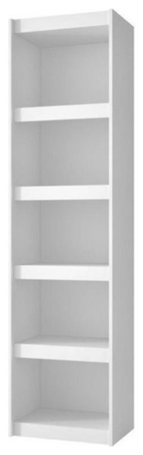 "Bowery Hill 19"" 5-Shelf Bookcase, White."