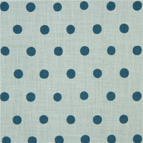 light blue echino canvas fabric with teal polka dots