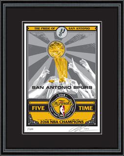 2014 Nba Finals Trophy Sports Propaganda Framed Serigraph